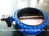 Válvula de borboleta dobro Ductile da flange do ferro Qt450 com caixa de engrenagens