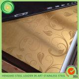Métal de peinture de couleur de satin de délié coloré par or de feuille de l'acier inoxydable 304 pour le panneau de décoration