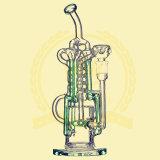 Tubos de cristal del vidrio del cenicero del arte del tazón de fuente alto del color del tabaco del reciclador de la alta calidad del tubo de agua del Birdcage del panal R38 de Adustable que fuman de la ducha del vidrio verde del tabaco