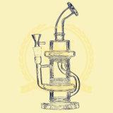 Pipa de agua de fumar de 12 pulgadas de 5 mm de reciclaje de tabaco Tall Bow Bowl de vidrio de color rosa Cenicero de vidrio Pipesfreezable Coil Illadelph Shisha de vidrio de tubería de agua