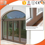 Madeira contínua luxuoso Windows deslizante e portas, porta articulada de alumínio da vitrificação dobro de madeira contínua de Clading