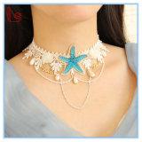 Ожерелья шнурка голубой звезды океана лета с перлами