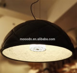 Luxo Handmade Padrão decorativo Black Leather Resin Hemisphere Pendurado Garden Pendant Light