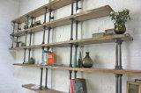 Estante de la comida fría del aparador del estante de libro de madera sólida y del metal del marco del metal de la vendimia con las puertas