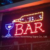 Geöffnetes geschlossenes LED Zeichen des farbenreichen Neonacryl-