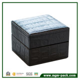 Коробка ювелирных изделий нашивки СИД аллигатора деревянная