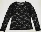 ファッションナイロンスパンローズレース卸売の女性のニットTシャツ