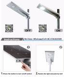 la potencia del sensor de movimiento de la batería de litio de 12V 20W 30W integró todos en una luz de calle solar del LED