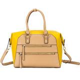 2016 Sprung-u. Sommer-Dame-moderne doppelte Reißverschluss-Gelb-Farbe PU-Handtaschen (C71180)