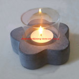 Flower Shape Stone Marble Tealight Candle Holder with Glass Hurricane