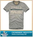 T-shirt lavado do algodão da garganta dos homens vintage redondo com Prinitnig feito sob encomenda