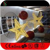 Luces decorativas al aire libre del adorno de la estrella de la Navidad 3D del LED
