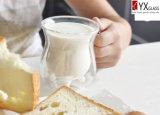taza de cristal de la leche de la pared doble 350ml/taza de cristal de la leche de la pared doble/taza de cristal del jugo de la pared doble