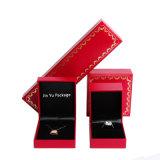Rectángulo de empaquetado determinado de la joyería hecha a mano roja del regalo con la hoja Stmsping caliente