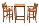 Conjunto de jantar de madeira ao ar livre para o jardim com quatro cadeiras