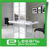 Tabela de jantar de vidro curvada longa em 4 pés do aço inoxidável