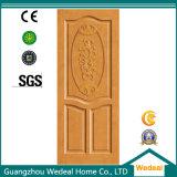 Porte de panneau peinte blanche du chêne 2 en bois solide de crevasse de coupure
