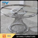 Redonda inoxidável de vidro superior jantar do frame de aço