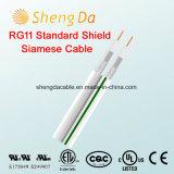 Câble coaxial de liaison d'antenne coaxiale normale siamoise de l'écran protecteur Rg11