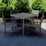 Conjunto de aluminio del vector de la silla del restaurante de Polywood del ocio del jardín de los muebles de las sillas de madera minimalistas del metal