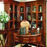 Книжные полки Bookcase твердой древесины Bookcase с столом изучения (GSP18-032)