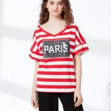 Fashion 2 Design Way Sequins à rayures à rayures Jersey T-Shirt