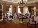A tabela clássica da cadeira clássica antiga americana do assento de amor do sofá da tela ajustou-se com frame de madeira para mobília viva