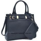 زرقاء لون نساء حقيبة يد [بو] جلد نمو حقائب مع محفظة