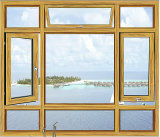 Ventana del marco de aluminio con revestimiento de madera barata Enmarcado con doble vidrio satinado