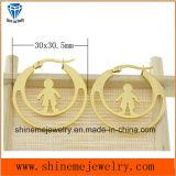 Pendiente del espárrago del oro del laminado de Vaccuum de la joyería de la carrocería de la manera (ERS6975)