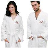 高品質の贅沢な綿のビロードまたはテリーの刺繍のロゴのカップルのバスローブ
