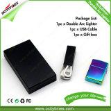 Isqueiro quente do USB do arco do dobro da liga do zinco do presente do Natal