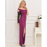 Vestido longo do Um-Ombro roxo de luxe