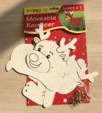 Reno movible de la Navidad de DIY con el papel blanco de la tarjeta