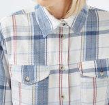 Longue chemise 100% tissée intéressante de femmes de flanelle de vérification de chemise de coton