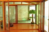 Puerta de plegamiento de aluminio de la doble vidriera de los cuatro paneles, puerta interior de cristal