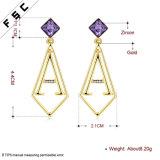 Großhandelsspitzengold überzogener Edelstahl-Kristallzeichen-Ohrring