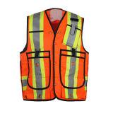 高い可視性の耐久のポケットが付いている反射安全ベスト