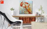 キャンバスの動物の壁映像のカニおよびイセエビの油絵