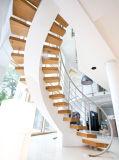 現代切り分けられた木製の螺旋階段または屋内