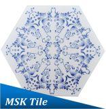 200X230mmのインクジェット青および白い六角形の床タイル