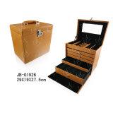 ハンドルの形の革宝石箱の美ボックス木の箱の宝石類の箱の宝石箱