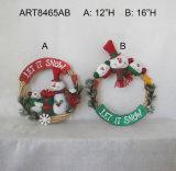 """famiglia Wreath-2asst del pupazzo di neve della decorazione di natale di H 12 """" - 16 """""""