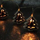 Feu de décoration LED en forme de sapin en bois en bois (26-1F1606)