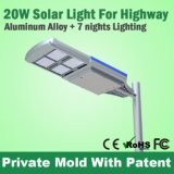 Classic Design Panneau solaire Street LED Light Fixture 4m 20W Solar Light