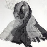 Châle unisexe mou dégradant tissé d'écharpe de coton de toile (HWBLC08)