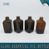 50ml de vierkante Fles van de Essentiële Olie van het Glas van de Schroefdop Amber