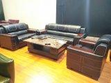 Muebles de madera de cuero genuino Sofá Negro