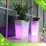 Bac extérieur d'usine d'Illuminous et bac de fleur d'éclairage LED de plastique