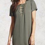方法女性の余暇の緩いV首の包帯のTシャツのブラウス
